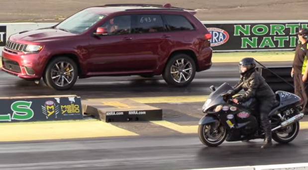 Jeep Grand Cherokeee Trackhawk vs Suzuki Hayabusa