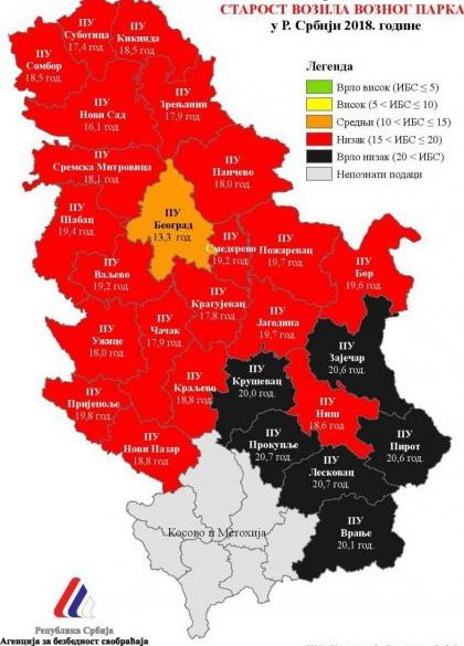 Mapa prosečne starosti automobila u Srbiji